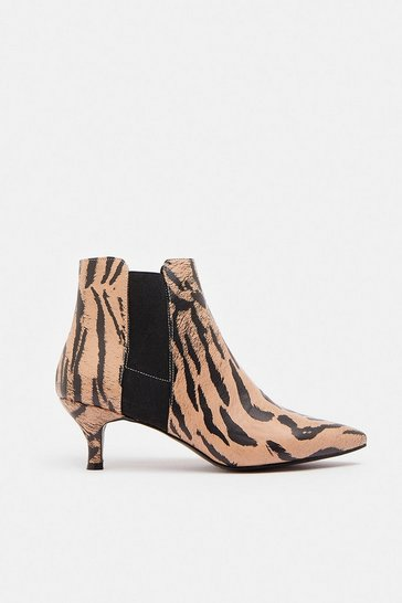 Tan Tiger Print Pointed Kitten Heel Boots