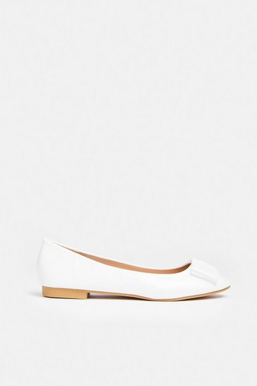 White Bow Ballet Pumps