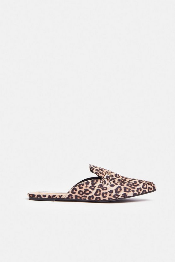 Leopard Animal Print Backless Loafers