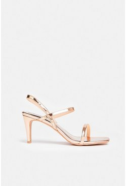 Gold Square Toe Patent Heels