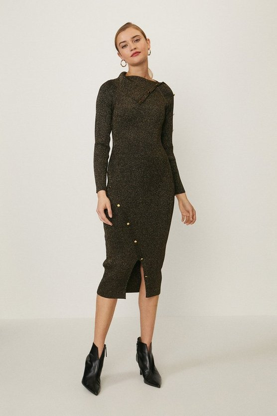 Black Button Detail Envelope Neck Dress