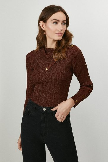 Rust Button Detail Envelope Neck Knitted Jumper
