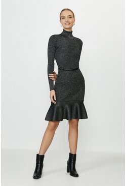 Black Knitted Glitter Roll Neck Dress