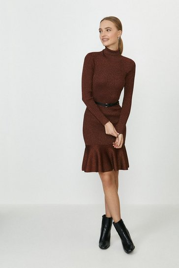 Rust Knitted Glitter Roll Neck Dress