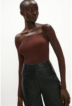 Rust Long Sleeve Glitter Bardot Top
