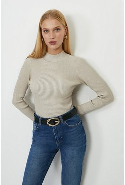 Ivory Long Sleeved Glitter Rib Top