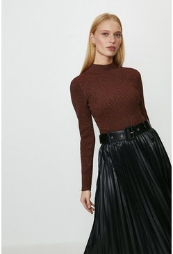 Rust Long Sleeved Glitter Rib Top