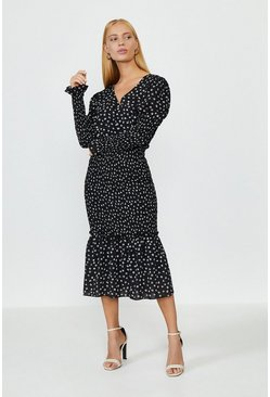 Mono Shirred Skirt Long Sleeve Midi Dress