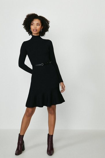 Black Peplum Hem Dress