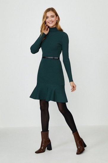 Dark green Peplum Hem Dress