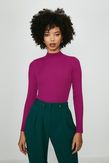 Fuchsia Knit Rib Long Sleeve Funnel Neck Top