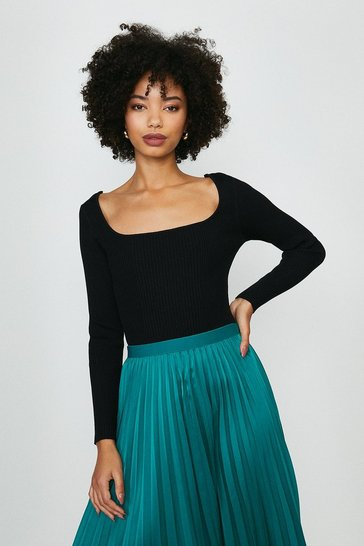 Black Long Sleeve Knitted Rib Square Neck Top