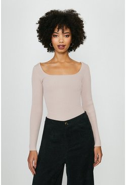 Blush Long Sleeve Knitted Rib Square Neck Top