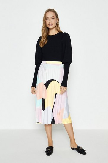Rust Slinky Jersey Pleated Skirt