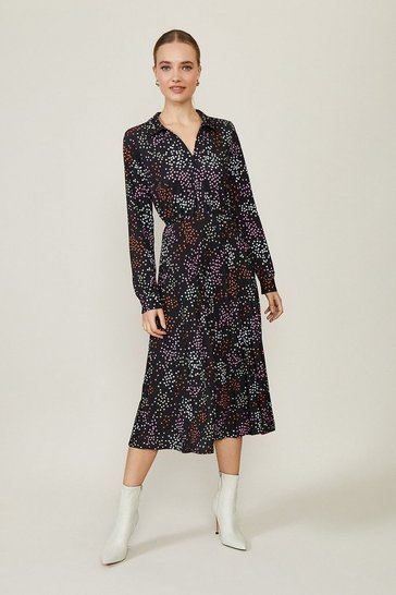 Black Star Print Slinky Jersey Shirt Dress