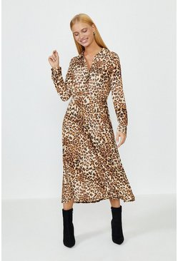 Animal Slinky Jersey Shirt Dress