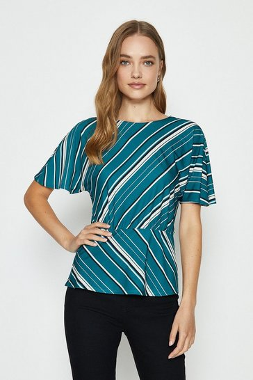 Teal Short Sleeve Cut About Jersey Top