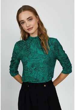 Green Animal Print Jersey Ruched Sleeve Top