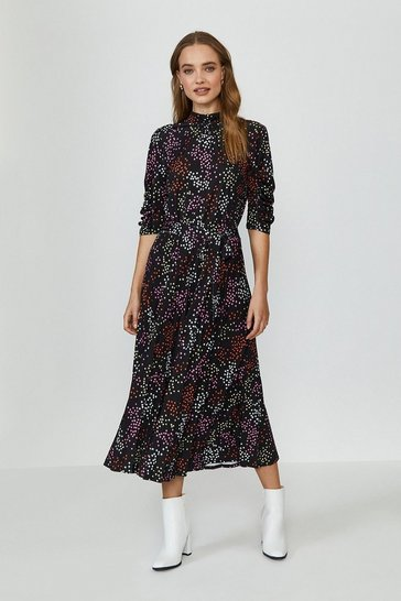 Black Star Print Jersey Ruched Sleeve Midi Dress
