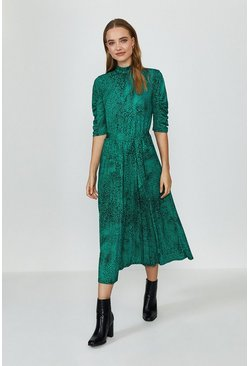 Green Jersey Ruched Sleeve Midi Dress