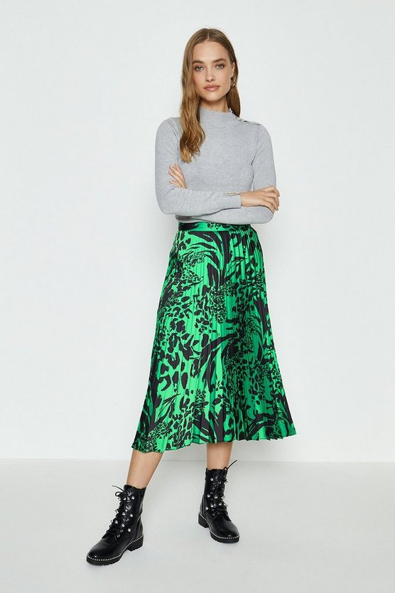 Green Woven Pleated Midi Skirt