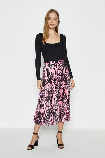 Pink Woven Pleated Midi Skirt