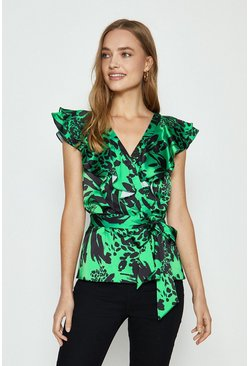 Green Ruffle Wrap Peplum Top