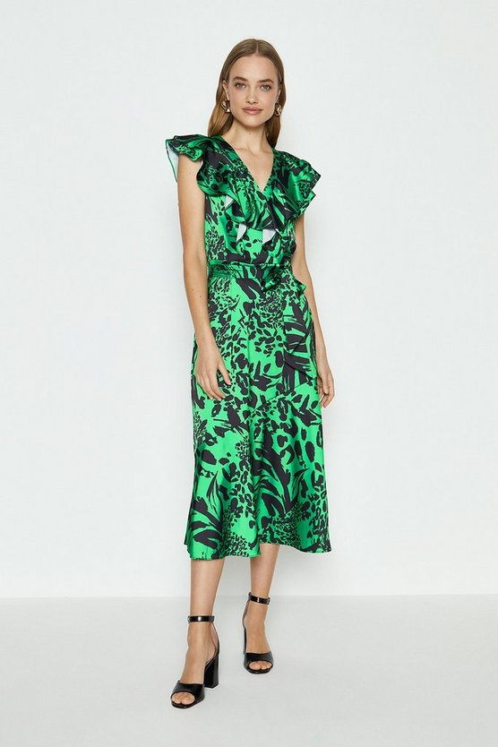 Green Midi Ruffle Wrap Dress