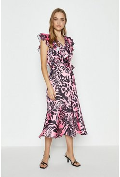 Pink Midi Ruffle Wrap Dress