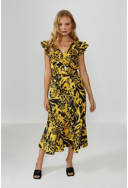 Yellow Midi Ruffle Wrap Dress