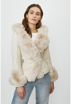 Cream Suedette Faux Fur Collar Jacket