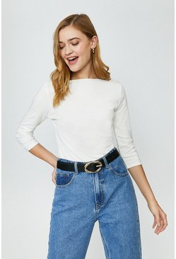 Ivory Cotton Slash Neck Top