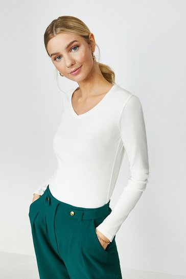Ivory Long Sleeved V-Neck Top