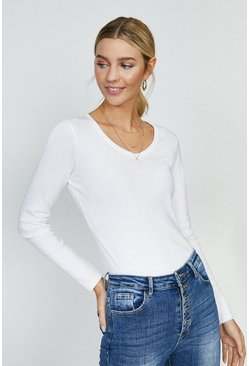 White Long Sleeved V-Neck Top
