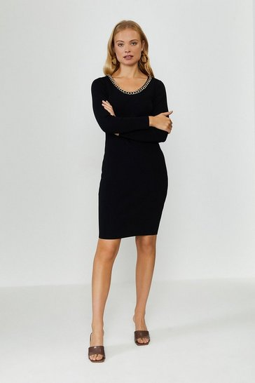 Black Cowl Chain Knitted Dress