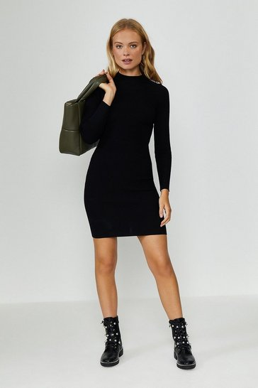 Black Chain Shoulder Rib Midi Dress