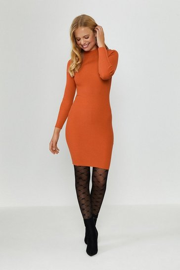Orange Chain Shoulder Rib Midi Dress