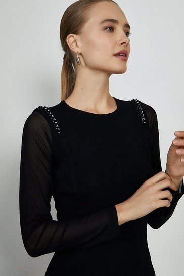 Black Chain Shoulder Knitted Dress
