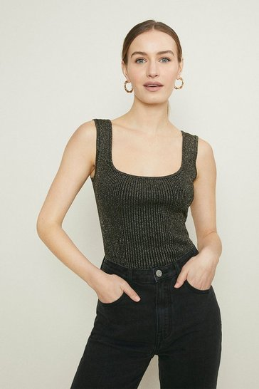 Black Knitted Glitter Rib Vest Top