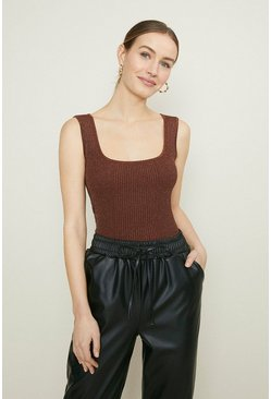 Rust Knitted Glitter Rib Vest Top