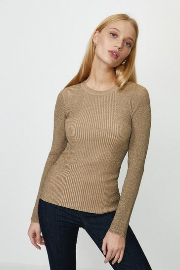 Beige Knitted Glitter Rib Long Sleeve Top
