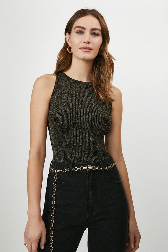 Black Knitted Glitter Cut Away Vest Top