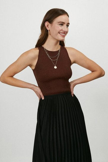 Rust Knitted Glitter Cut Away Vest Top