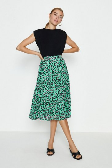 Green Animal Print Midi Skirt