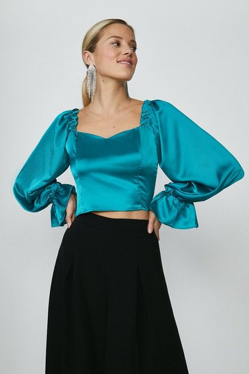 Teal Volume Sleeve Corset Top