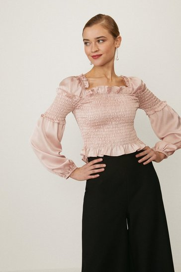 Blush Shirred Bodice Balloon Sleeve Top
