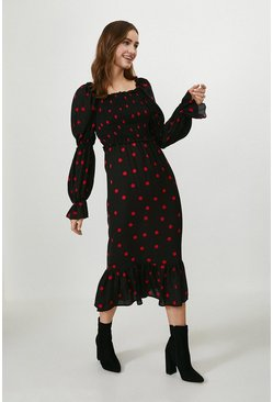 Black Puff Sleeve Shirred Bodice Midi Dress
