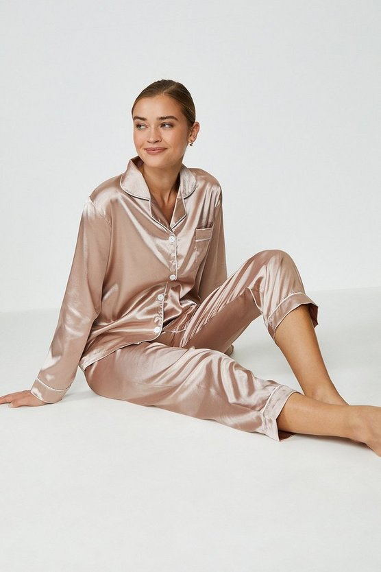 Blush Tipped Satin PJ Set