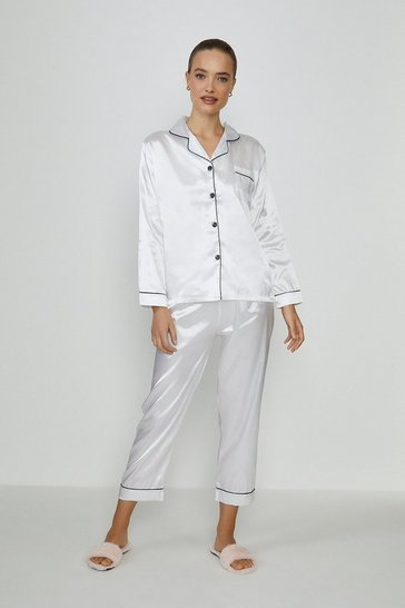 Ivory Tipped Satin PJ Set