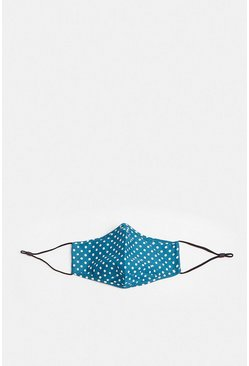 Teal Polka Dot Fashion Face Mask With 2 x Filters